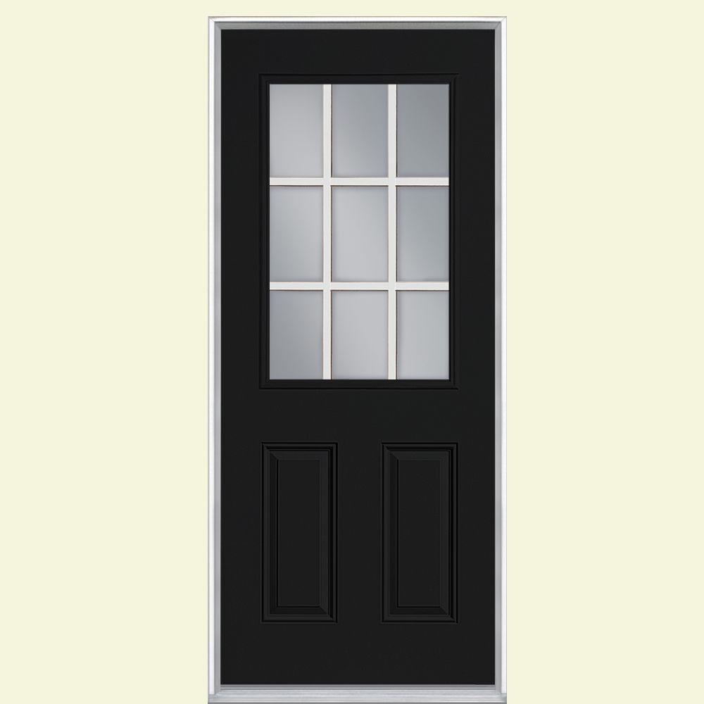 9 Lite Primed Steel Prehung Front Door with No Brickmold