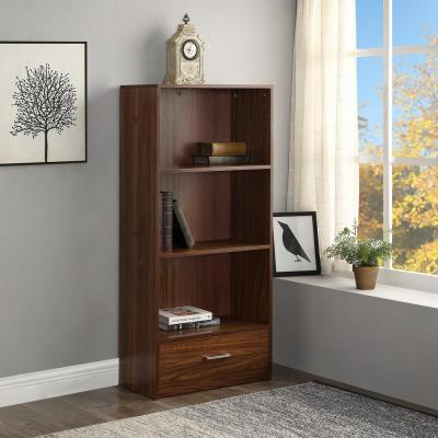 51.2 in. Espresso Wood 3-shelf Standard Bookcase with Drawers