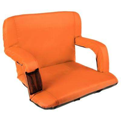 Orange Cushioned Wide Stadium Seat Chair with Carry Straps