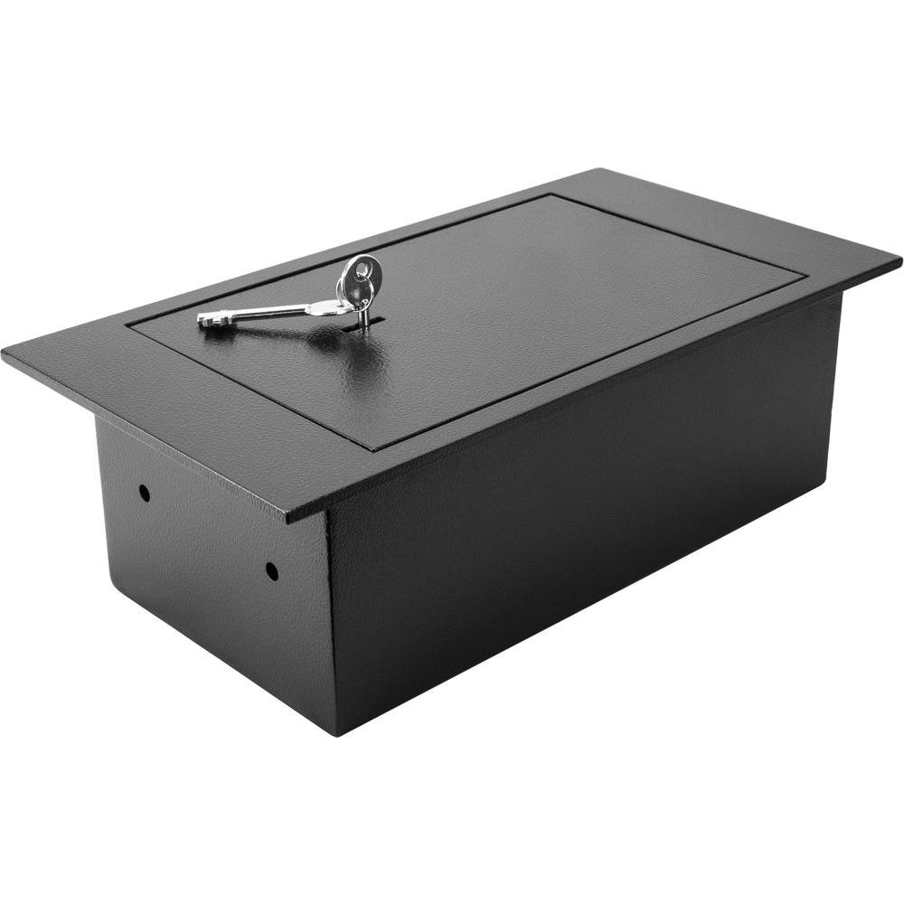 0.22 cu. ft. Steel Floor Safe With Key Lock, Black