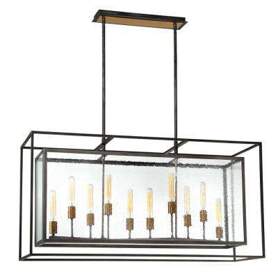 Affilato 10-Light Black Chandelier with Seeded Glass Shade