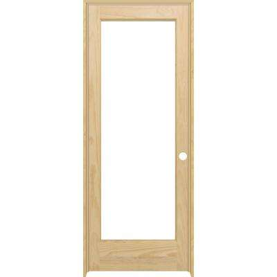 36 in. x 80 in. Full Lite Clear Glass Left-Hand Unfinished Pine Wood Single Prehung Interior Door with Nickel Hinges