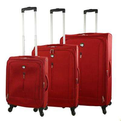 Tena 3-Piece Red Softside Spinner Luggage Set