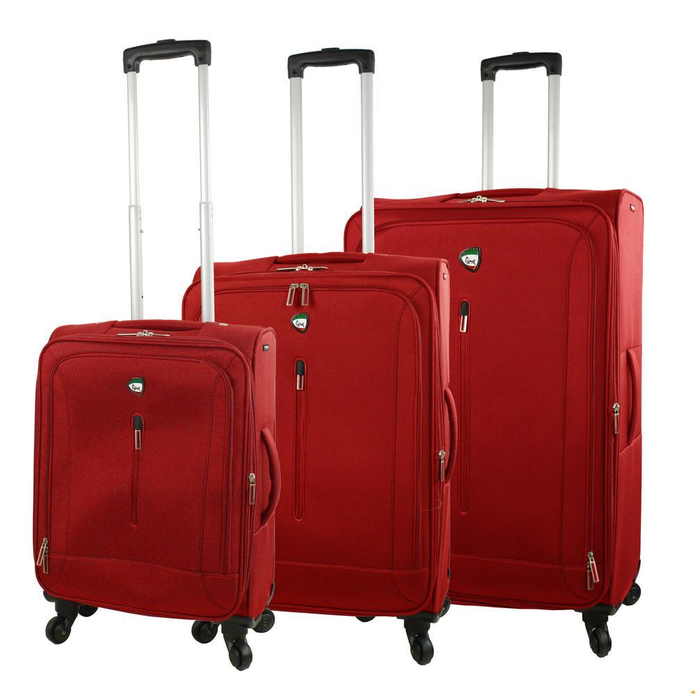 Mia Toro Tena 3-Piece Red Softside Spinner Luggage Set M1148-3PC-REDNL
