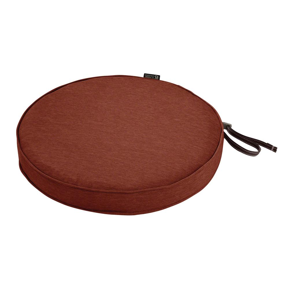 Classic Accessories Montlake Fade Safe Heather Henna 15 In Round Outdoor Seat Cushion