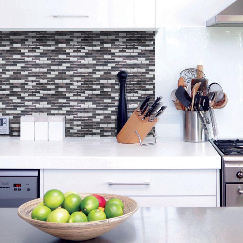 Murano Metallik 10 20 In W X 9 H L And Stick Self Adhesive Decorative Mosaic Wall Tile Backsplash 12 Pack