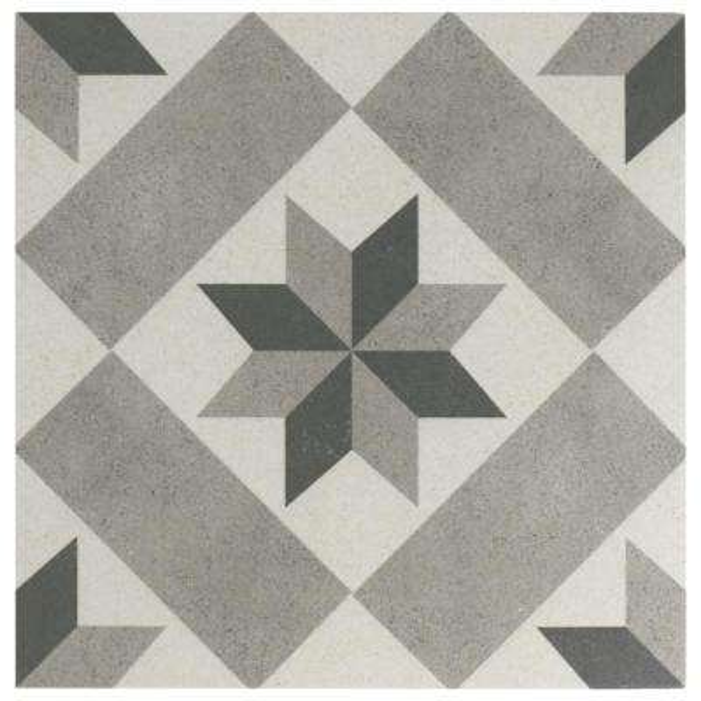 Vintage Star Grey Encaustic 9-3/4 in. x 9-3/4 in. Porcelain Floor and Wall Tile (11.11 sq. ft. / case)