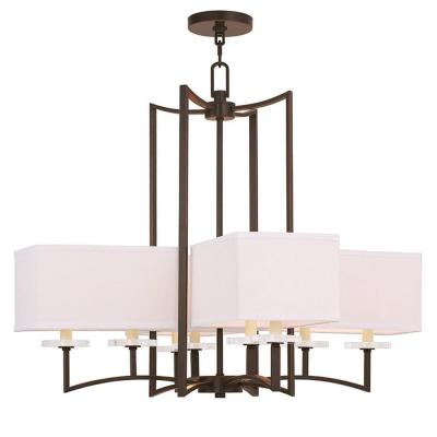 Woodland 8-Light Olde Bronze Chandelier with Hand Crafted Off-White Fabric Hardback Shade