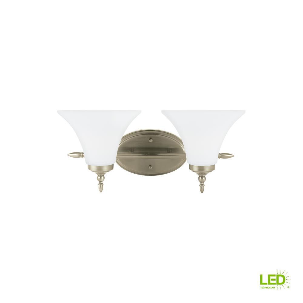 Montreal 2-Light Antique Brushed Nickel Bath Light with LED Bulbs