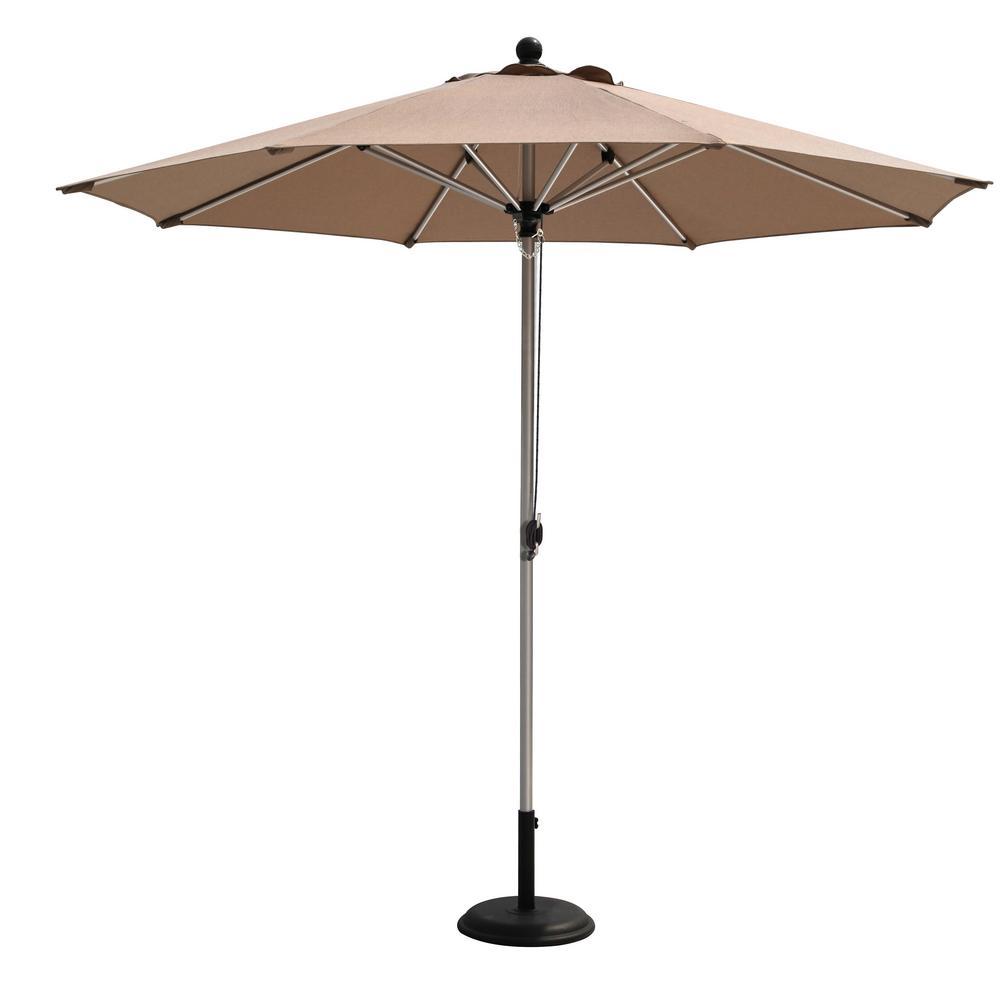Coast 9 ft. Aluminum Outdoor Patio Market Umbrella in Sunbrella Heather Beige