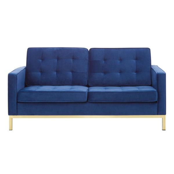Loft 63 in. Gold Navy Velvet 2-Seater Loveseat with Square Arms