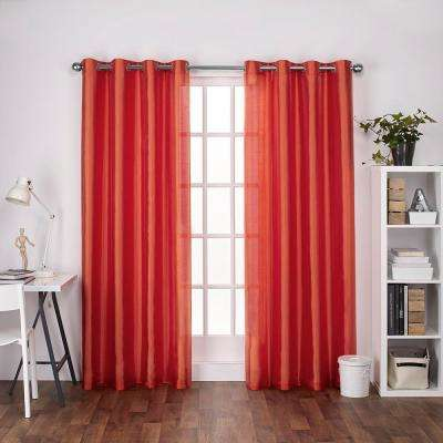 Chatra 54 in. W x 108 in. L Faux Silk Grommet Top Curtain Panel in Orange Crush (2 Panels)