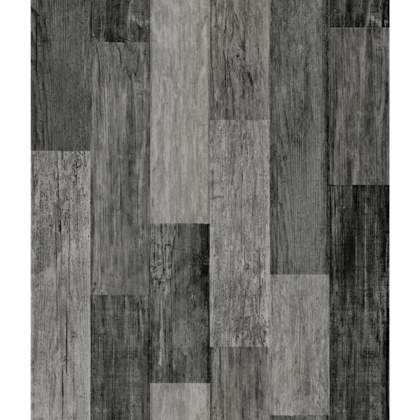 Weathered Wood Plank Black Vinyl Peelable Wallpaper (Covers 28.18 sq. ft.)
