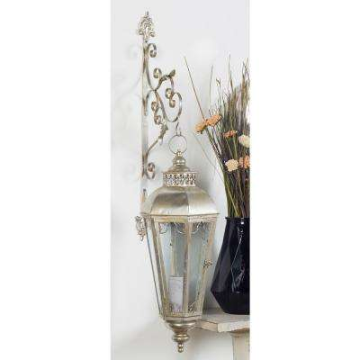Classic Ornate and Latticed Silver Wall Lantern