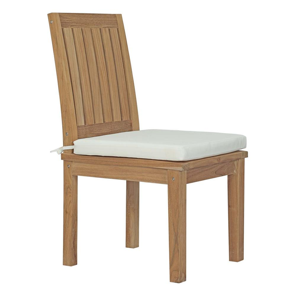 MODWAY Marina Patio Teak Outdoor Dining Chair In Natural With White Cushions