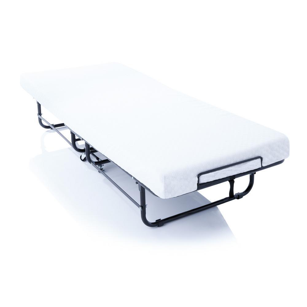 4 in. Rollaway Twin Size Guest Bed with Memory Foam Mattress