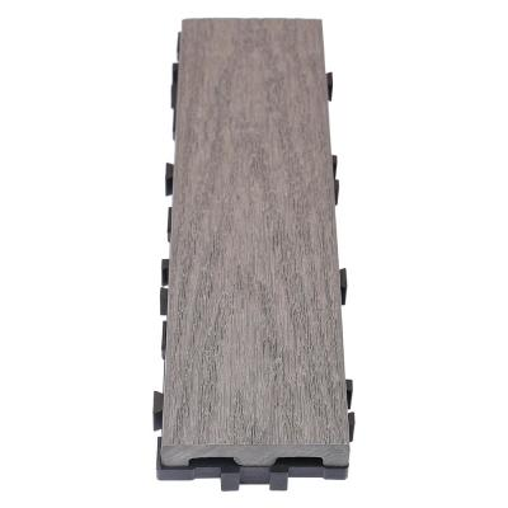 UltraShield Naturale 1/4 ft. x 1 ft. Quick Composite Single Slat Deck Tile in Argentinian Silver Gray (4-Pieces per Box)