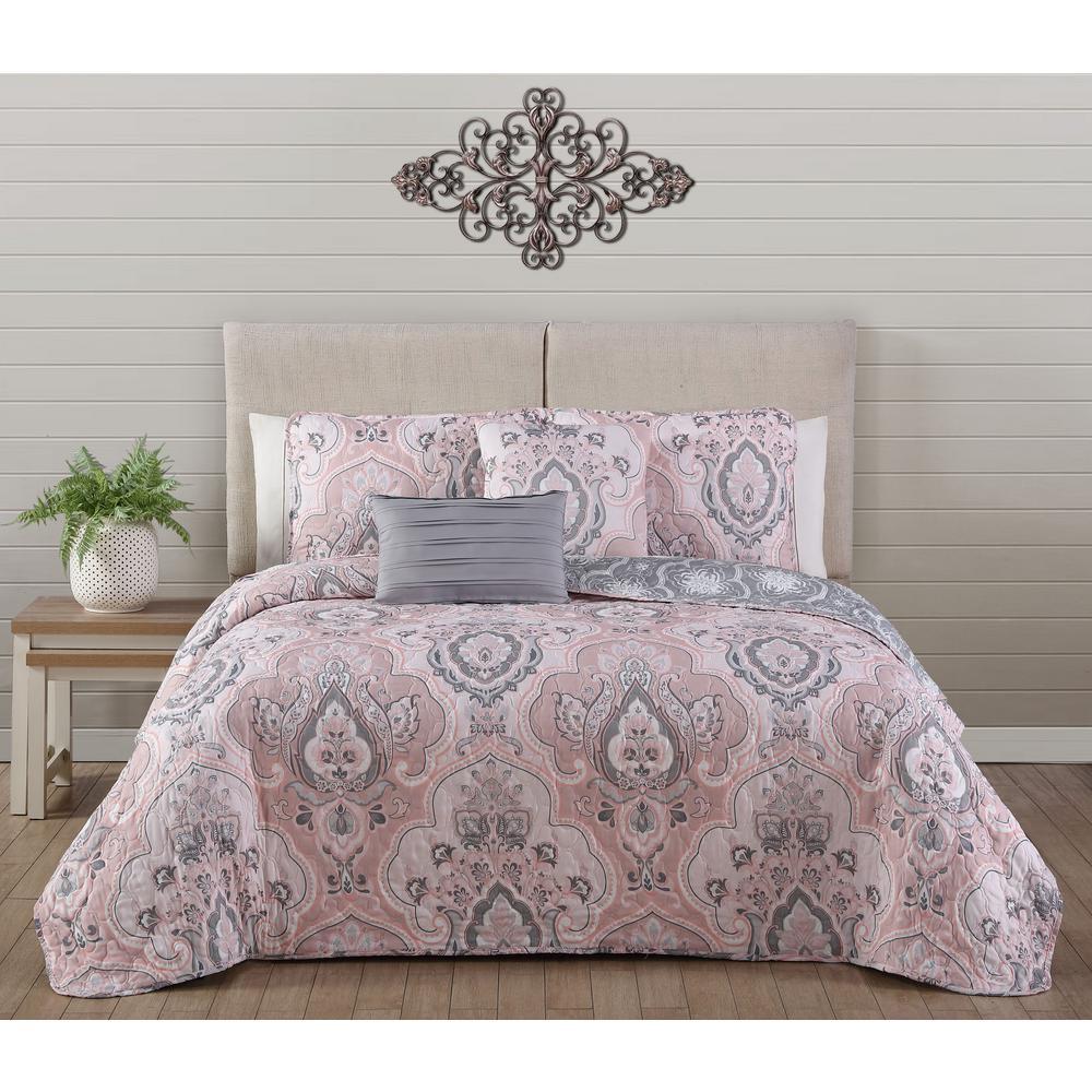 Avondale Manor Odette Blush Queen Quilt Set (5-piece)-ODE5QTKINGGHBH - The  Home Depot