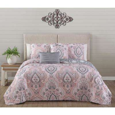 Odette Blush King Quilt Set (5-piece)