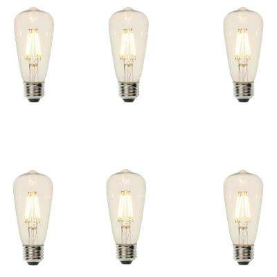 40W Equivalent ST15 Dimmable Filament LED Light Bulb Soft White (6-Pack)