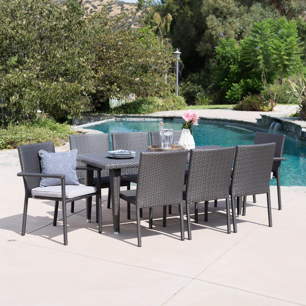 Noble House Gray 9-Piece Wicker Rectangular Outdoor Dining Set with Silver Cushion