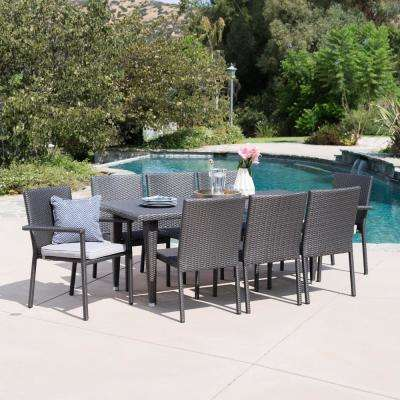 Gray 9-Piece Wicker Rectangular Outdoor Dining Set with Silver Cushion