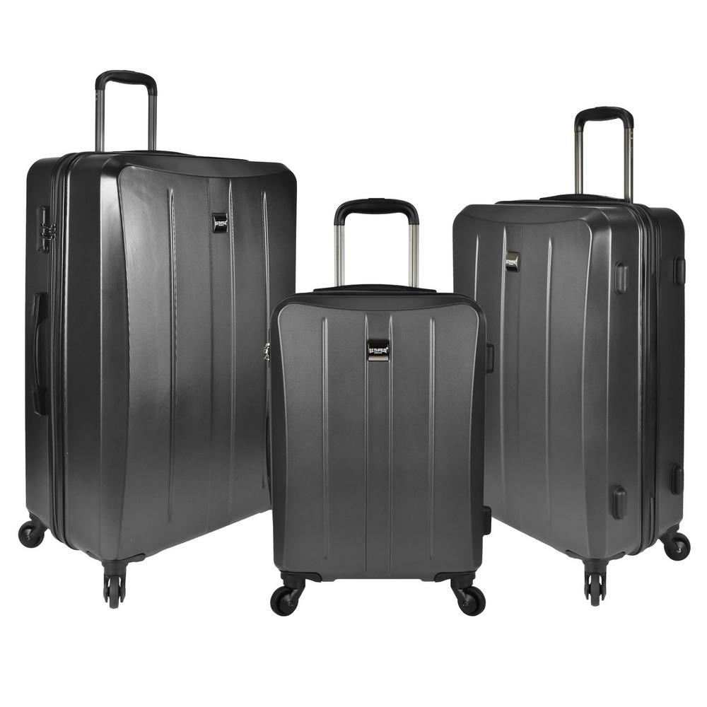 Highrock 3-Piece Hardside Spinner Set, Charcoal