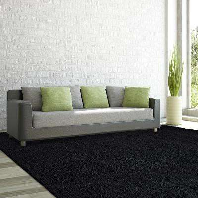 Comfort Shag Black 5 Ft. X 7 Ft. Area Rug