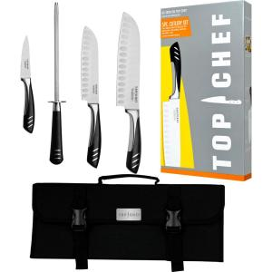 5 Piece Stainless Steel Knife Set with Portable Carry Pouch