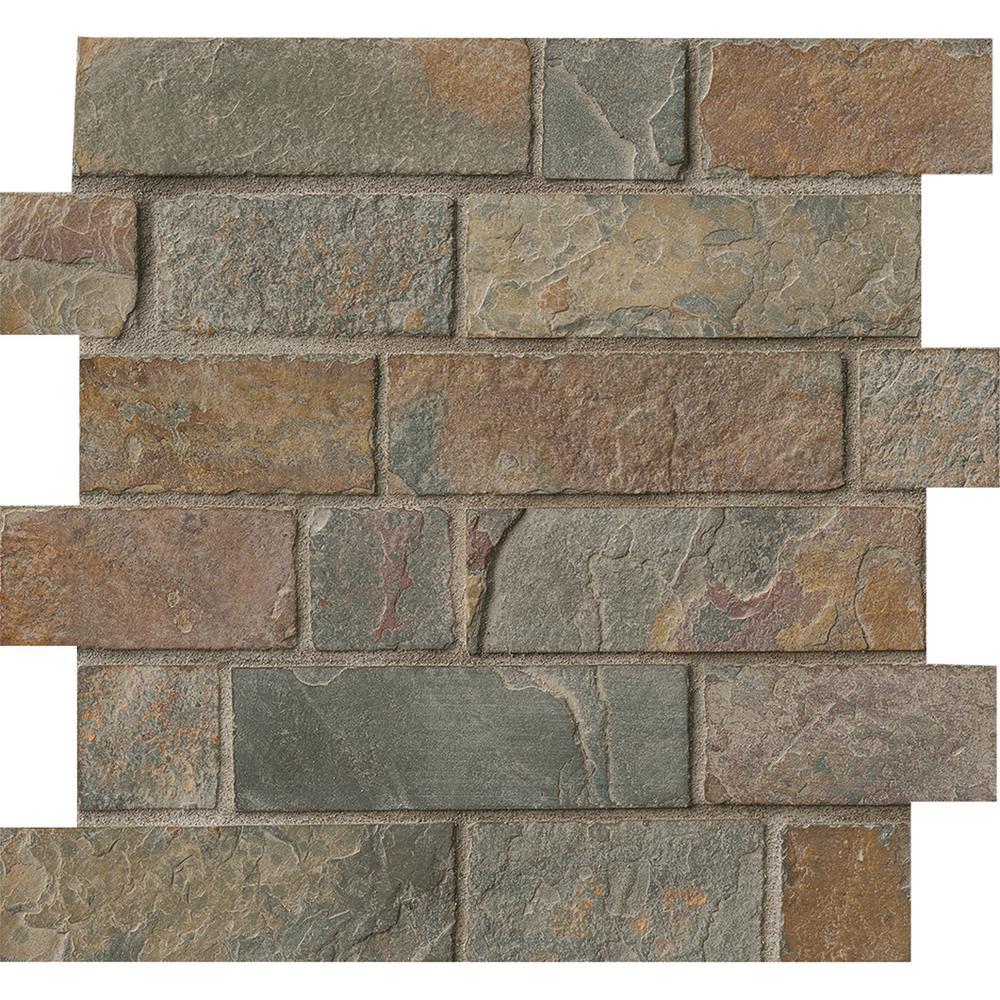 California Gold Brick 12 In X 8 Mm Tumbled Slate Mesh