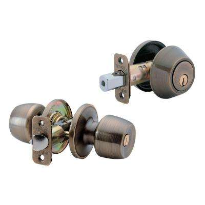 Brandywine Antique Brass Entry Knob And Single Cylinder Deadbolt Combo