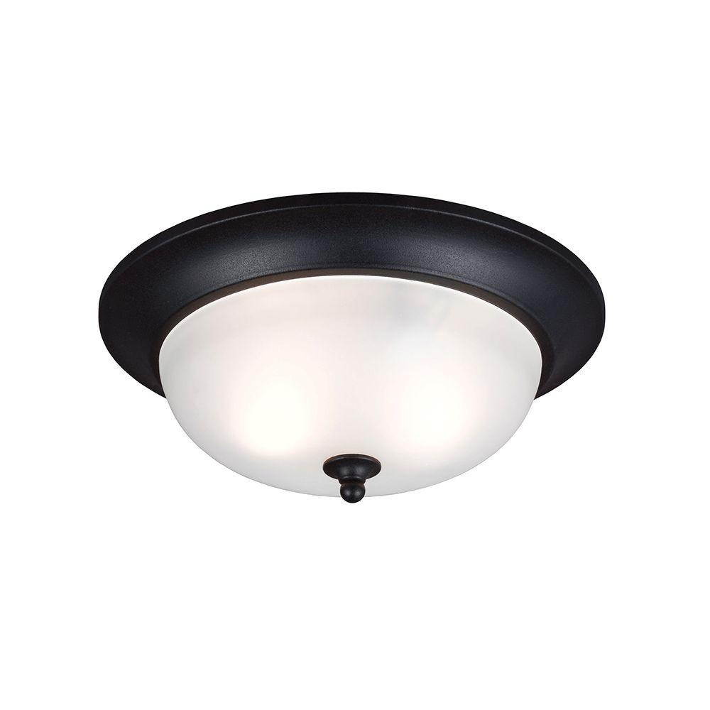 Sea Gull Lighting Humboldt Park 2-Light Outdoor Black Ceiling Flushmount with Satin Etched Glass