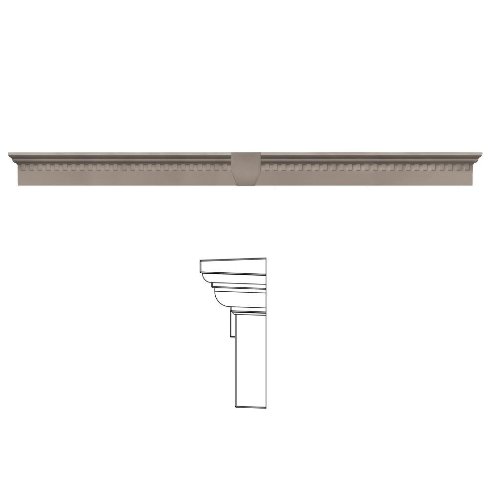 Builders Edge 6 in. x 73 5/8 in. Classic Dentil Window Header with Keystone in 008 Clay