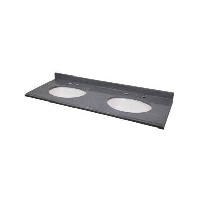 61 in. Colorpoint Composite Vanity Top in Gray with White Double Undermount Bowls