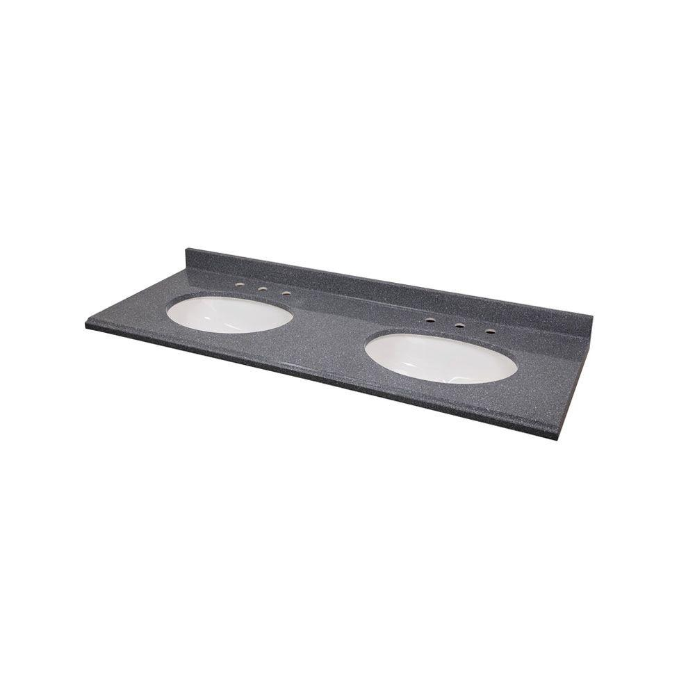 St. Paul 61 in. Colorpoint Composite Vanity Top in Gray with White Double Undermount Bowls