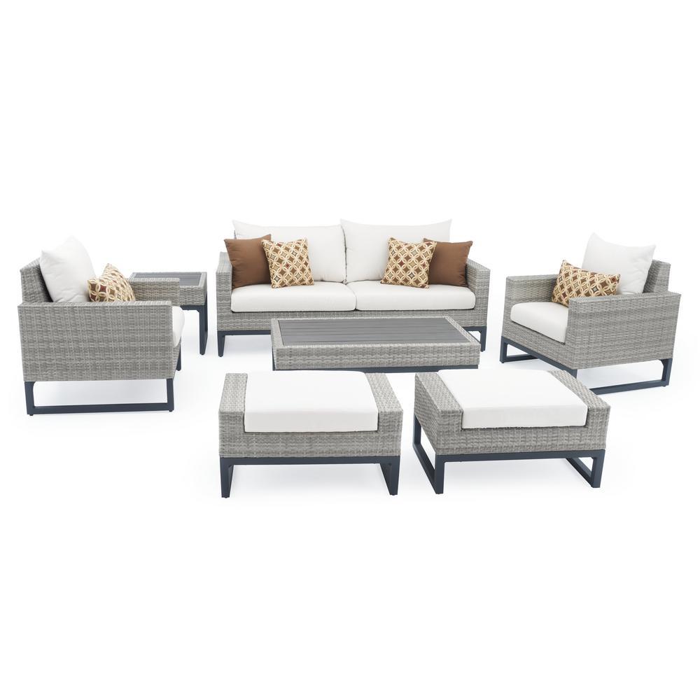 Milo Grey 7 Piece Wicker Patio Deep Seating Conversation Set With Sunbrella Moroccan Cream Cushions