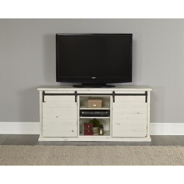 Huntington 64 in. Distressed White Wood TV Stand Fits TVs Up to 70 in. with Storage Doors