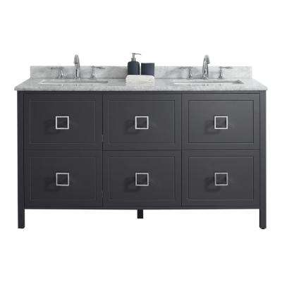 Drexel 60 in. W Vanity in Charcoal with Marble Vanity Top in White with White Basin