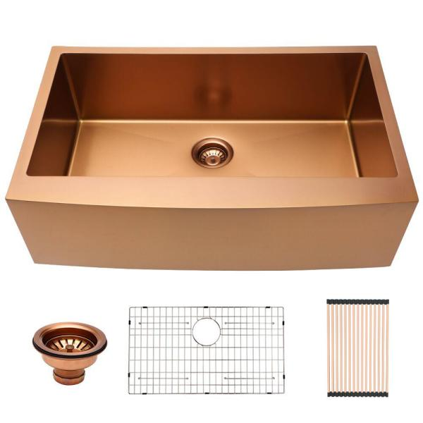 LORDEAR Stainless Steel 33 in. Single Bowl Farmhouse Apron Front