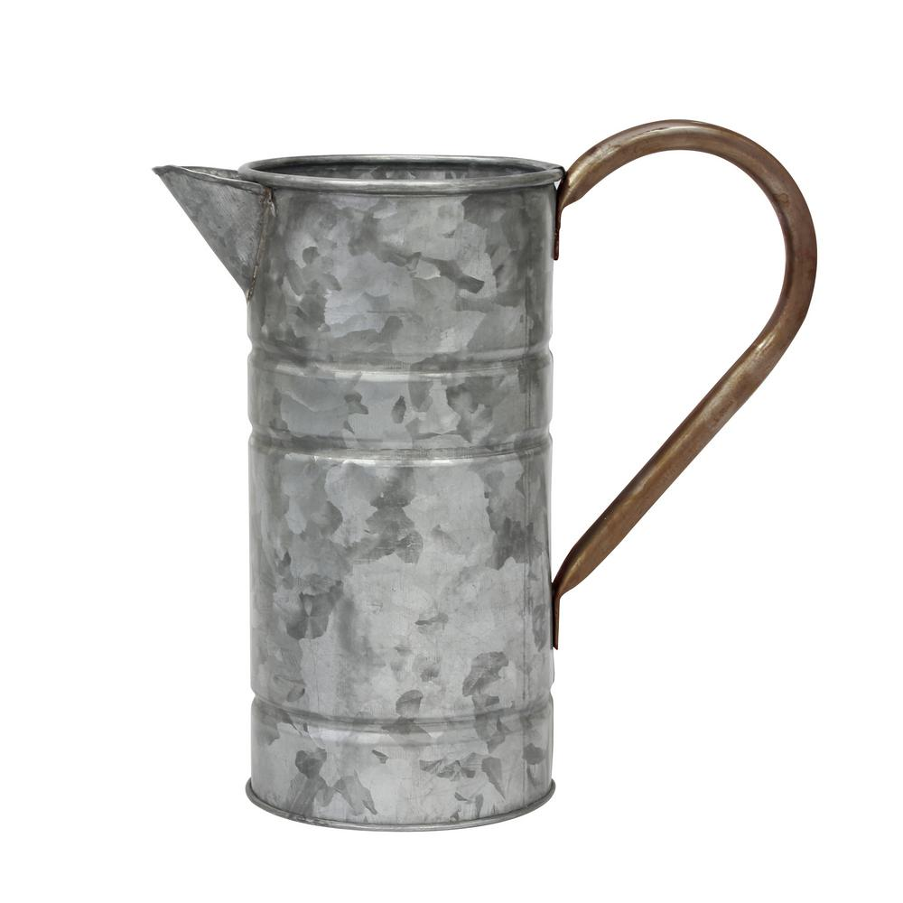Antique Galvanized Metal Watering Can With Handle