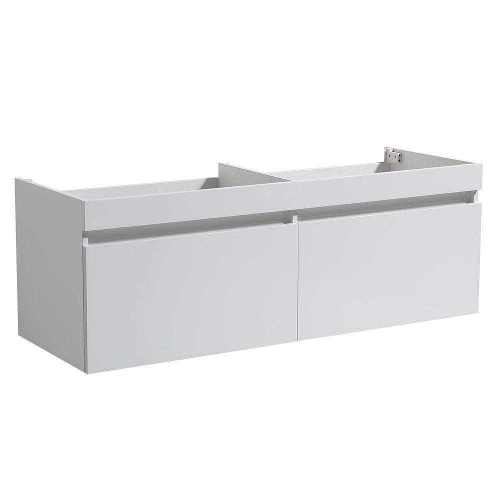 Largo 57 in. Double Bathroom Vanity Cabinet Only in White