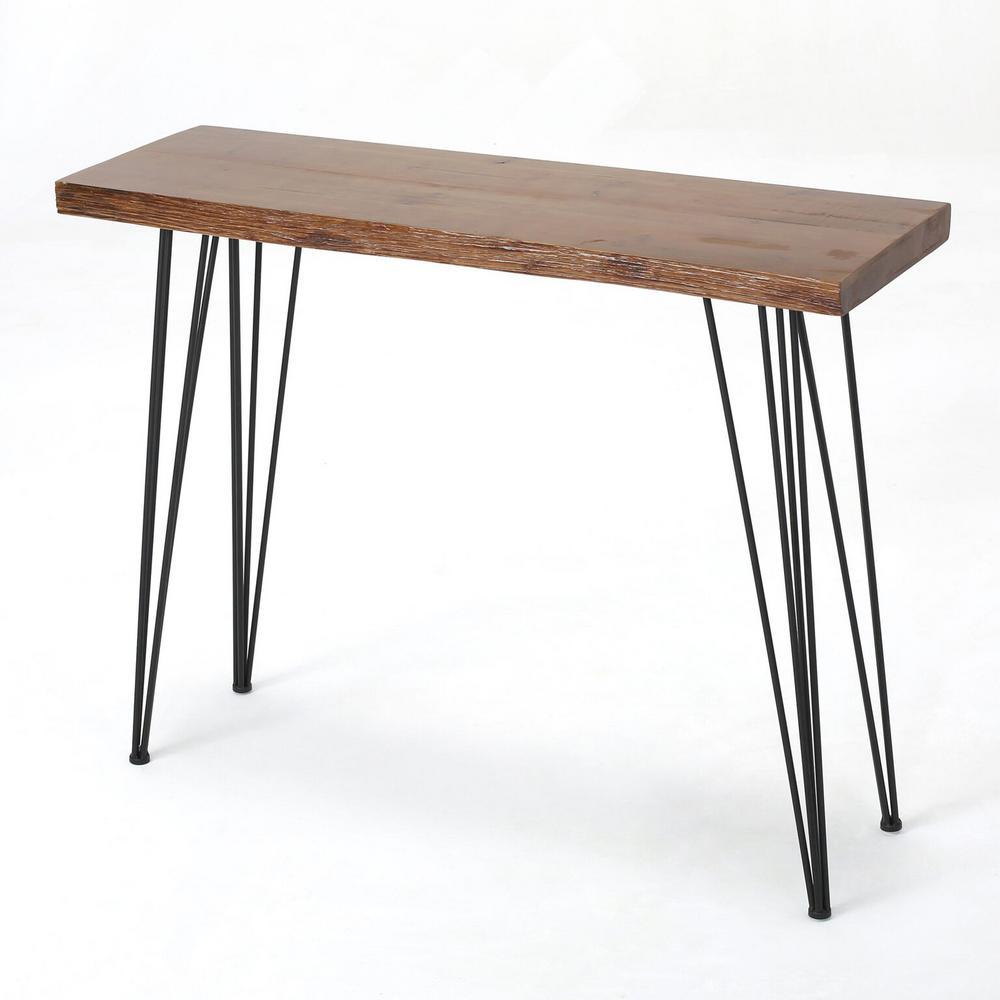 Natural Wood Finish Rectangular Wood and Iron Bar Table