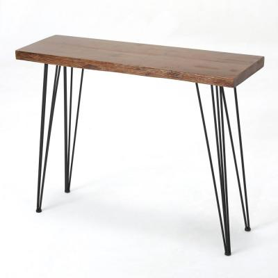 Natural Wood Finish Rectangular Wood and Iron Bar Table