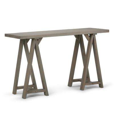 Spokane Solid Wood 50 inch Wide Modern Industrial Console Sofa Table in Distressed Grey