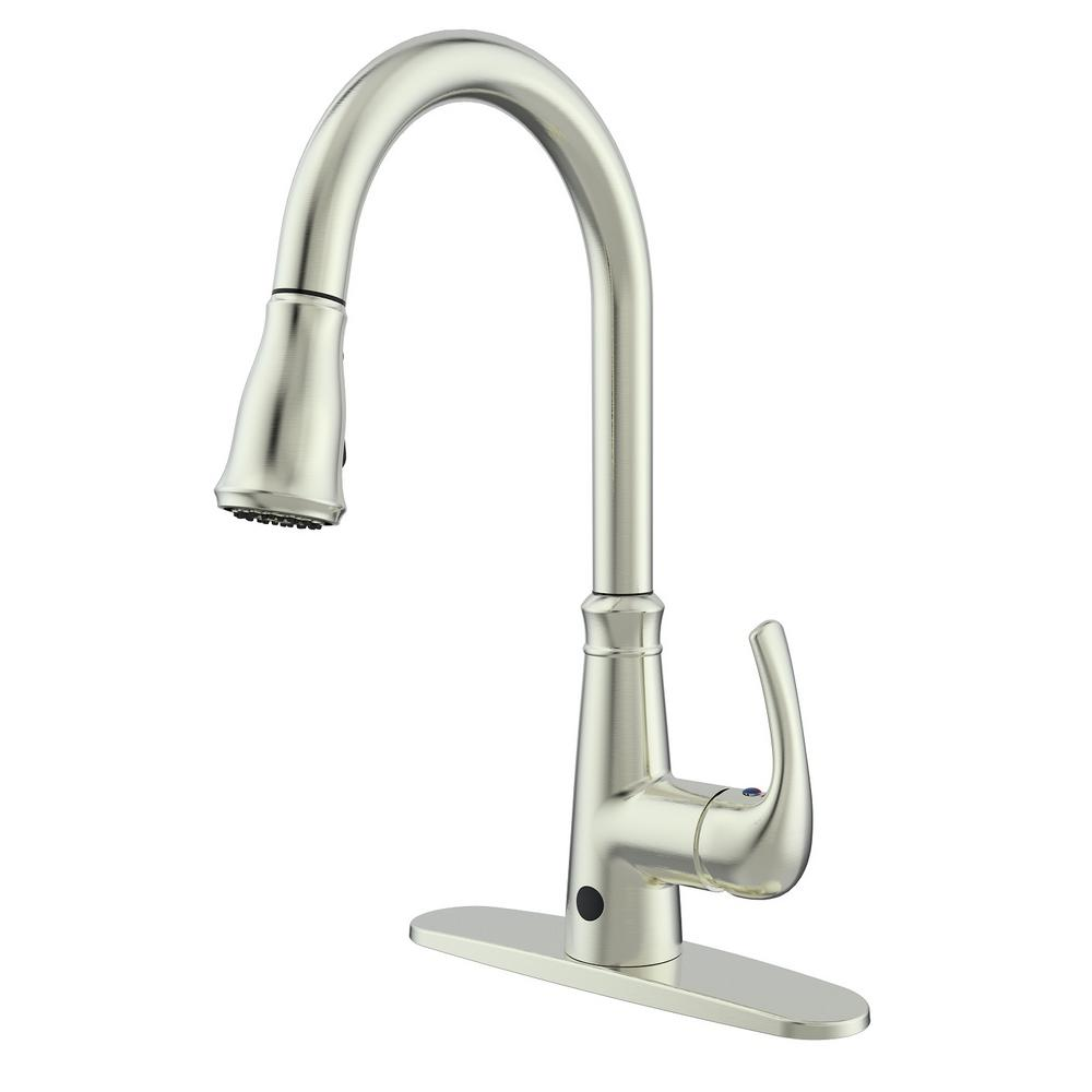 Runfine Single-Handle Pull-Down Sprayer Kitchen Faucet with Hands-Free  Feature in Brushed Nickel