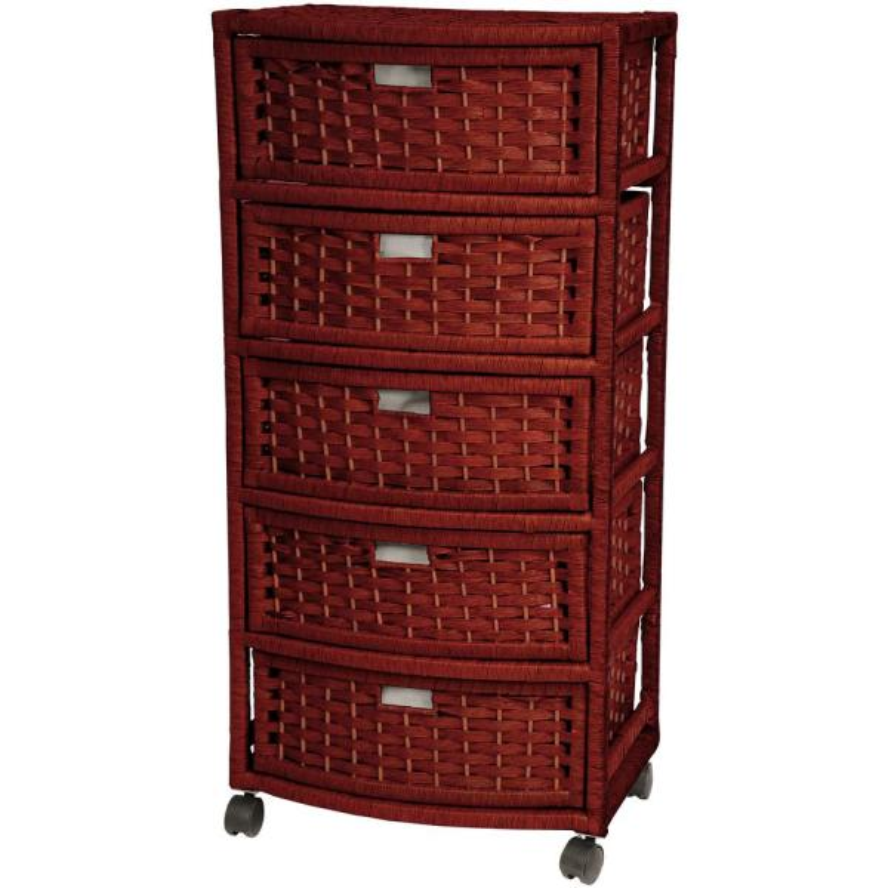 Oriental Furniture 5-Drawer Mahogany Natural Fiber Trunk JH09-051-5-MHGNY