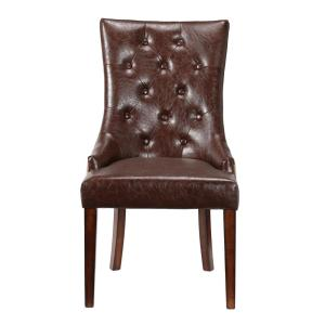 +6. Home Decorators Collection Rebecca Brown Leather Tufted Accent Chair