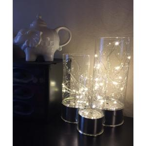 Everlasting Glow Clear Glass Hurricane Jars with Micro LED String