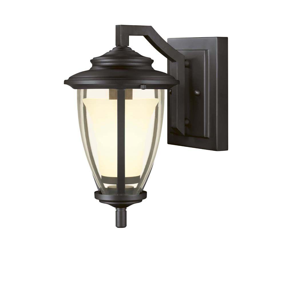 Hampton Bay Stockholm Satin Bronze Outdoor Wall Lantern