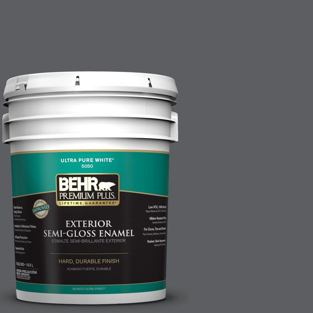 BEHR Premium Plus 5-gal. #N500-6 Graphic Charcoal Semi-Gloss Enamel Exterior Paint